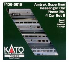 N Scale Amtrak Superliner Passenger Car Phase IVb 4 Car Set B - 1063515