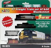 N Scale F7 Freight Train Set AT&SF Bluebonnet DCC Ready - 1066273