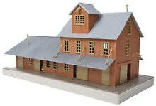 HO Scale Brick Freight House Plastic Kit - 931-918