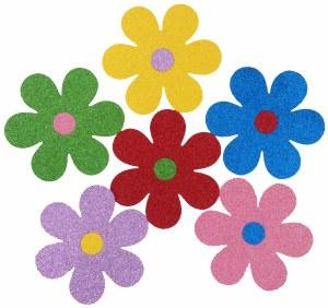 FLOWERS FOAM 6 GLITTER STICKER