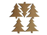CHRISTMAS TREES CARDBOARD 5PK