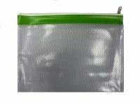 MESH BAG A4+ COLOUR STRIP GRN