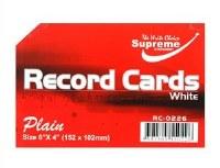 RECORD CARDS 6X4 WHITE PLAIN