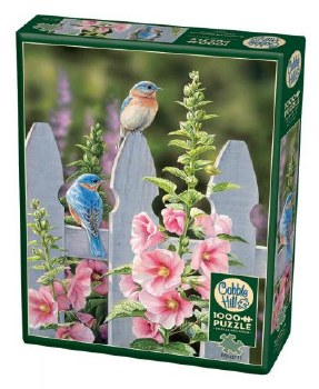 Cobble Hill 1000pc Bluebirds & Hollyhocks