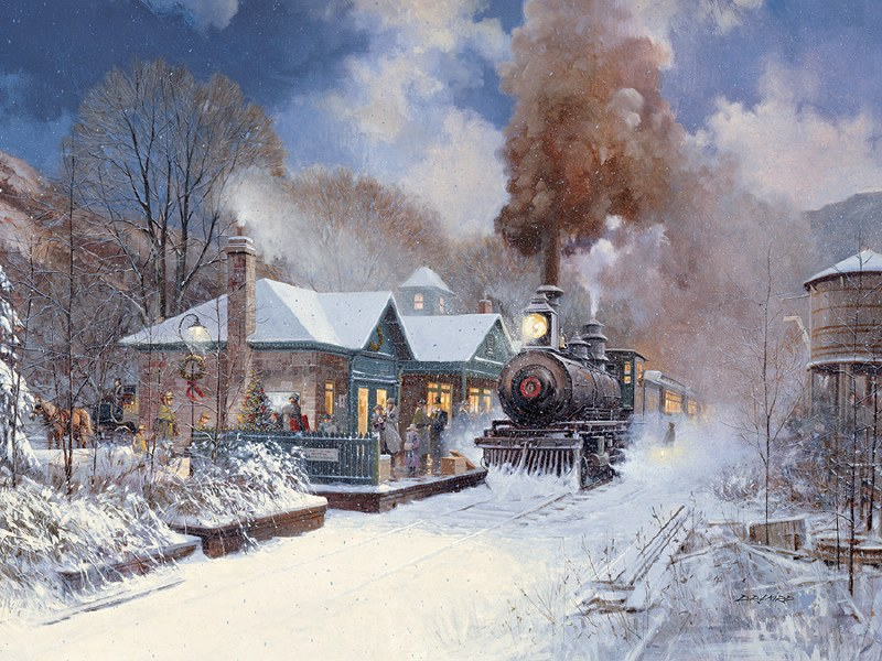 Christmas Train.Cobble Hill 350pc Christmas Train Family Puzzle
