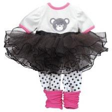 """Adora 20"""" Teddy Tutu Outfit Pink, Black & White"""