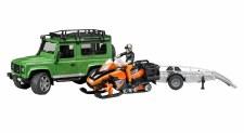 Bruder Land Rover Defender Trailer & Snowmobile & Skier