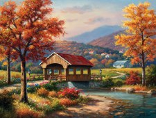Sunsout 500 Pc Covered Bridge In Fall