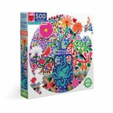 Eeboo 500 Piece Round Puzzle Birds And Flowers
