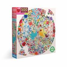 Eeboo 500 Piece Round Puzzle Blue Bird Yellow Bird