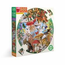 Eeboo 500 Piece Round Puzzle Mushrooms & Butterflies