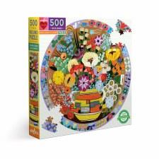 Eeboo 500 Piece Round Puzzle Purple Birds & Flowers