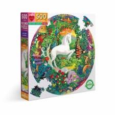 Eeboo 500 Piece Round Puzzle Unicorn Garden