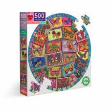 Eeboo 500 Piece Round Puzzle Vintage Butterflies