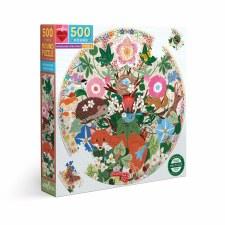 Eeboo 500 Piece Round Puzzle Woodland Creatures