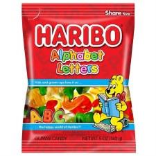 Haribo Alphabet Letters Gummi Candy Peg Bag