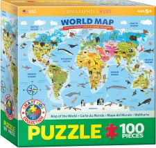 Eurographics 100pc Illuistrated Map Of The World