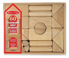 Melissa & Doug Standard Unit Wooden Building Blocks 60pc