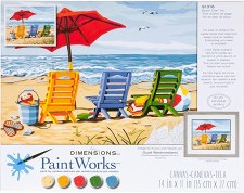 Dimensions Paint By Number Beach Chair Trio 14x11