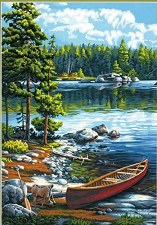 Dimensions Paint By Number Canoe By The Lake 20x14