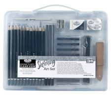 Royal & Langnickel Sketching Art Set Clear View Case 34pc