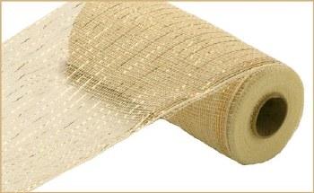 """Geomesh Roll 10"""" x 10yd- Cream w/ Gold Foil"""
