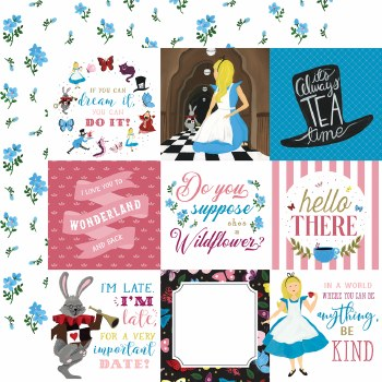Alice in Wonderland 12x12 Paper- 4x4 Journaling Cards