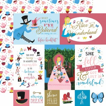 Alice in Wonderland 12x12 Paper- Multi Journaling Cards