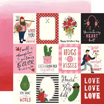Be My Valentine 12x12 Paper- 3x4 Cards