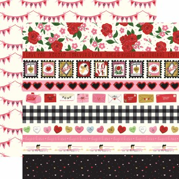 Be My Valentine 12x12 Paper- Border Strips