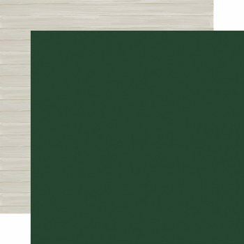 Christmas Market 12x12 Solid Paper- Dark Green/Woodgrain