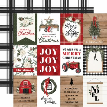 Farmhouse Christmas 12x12 Paper- 3x4 Cards
