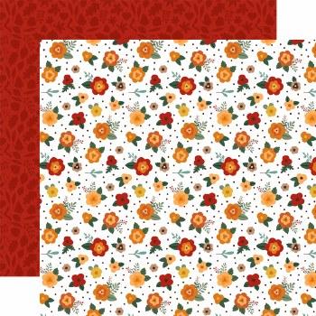Happy Fall 12x12 Paper- Fresh Fall Flowers