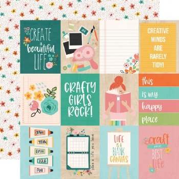 Hey Crafty Girl 12x12 Paper- 3x4 Elements
