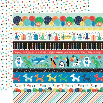 It's Your Birthday Boy 12x12 Paper- Border Strips