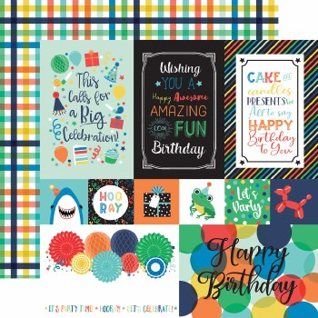 It's Your Birthday Boy 12x12 Paper- Multi Cards