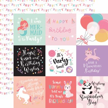 It's Your Birthday Girl 12x12 Paper- 4x4 Cards