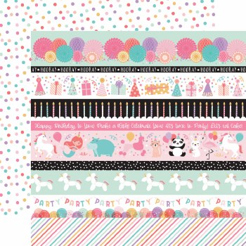 It's Your Birthday Girl 12x12 Paper- Border Strips