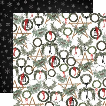 Farmhouse Christmas 12x12 Paper- Noel Wreaths