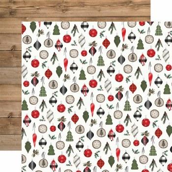 Farmhouse Christmas 12x12 Paper- Ornaments