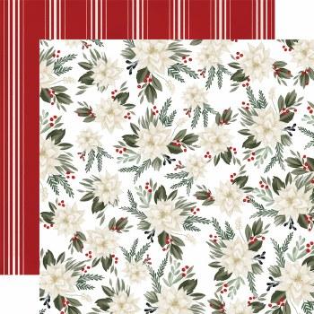 Farmhouse Christmas 12x12 Paper- Poinsettia Floral