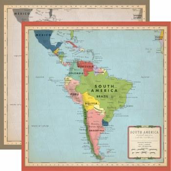 Cartography No.2 12x12 Paper- South America