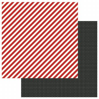 A Day at the Park 12x12 Paper- Diagonal Red Stripe w/ Black
