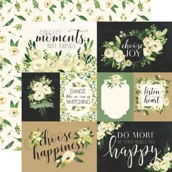 Botanical Garden 12x12 Paper- White Rose Cards