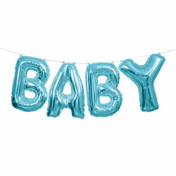 "14"" Baby Balloon Kit- Blue Foil"