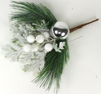 """14"""" Snowy Pine w/ Orament Pick"""