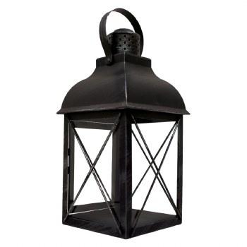 "15"" Metal Lantern with Glass"