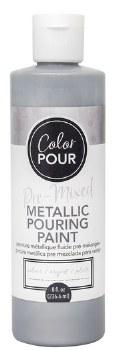 Color Pour Pre-Mixed Metallic Pouring Paint, 16oz- Silver
