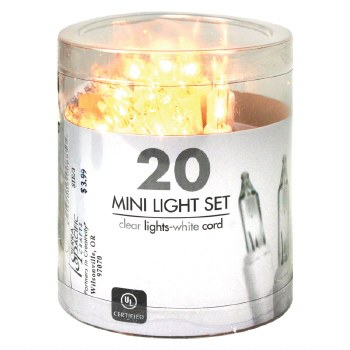 20ct Mini Light Set- Clear w/ White Cord