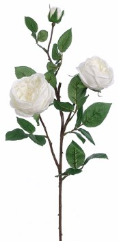 "Cabbage Rose Spray, 29""- White"